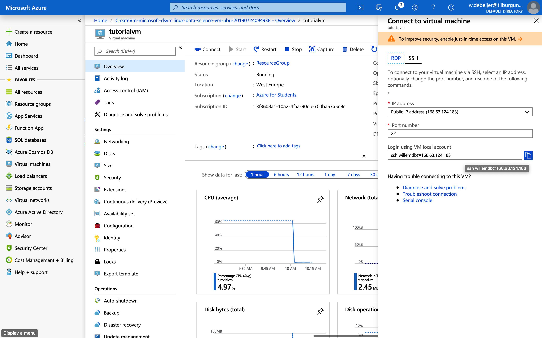 Azure Virtual machine tutorial - JADS MKB Datalab